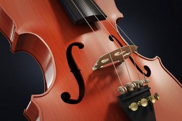 Violin close-up over black background, 3d illustration