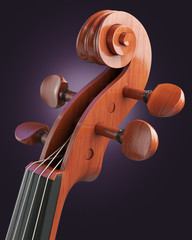 Violin close-up over black background, 3d illustration