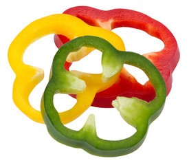 Sliced peppers isolated on white