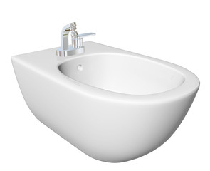 Round bidet design for bathrooms with chrome faucet