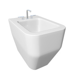 Square bidet design for bathrooms with chrome faucet