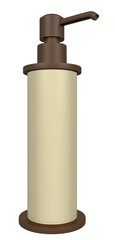 Bronze and cream colored lotion or soap dispenser with a pump