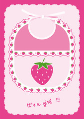 Baby girl card announcement with bib and strawberries into frame