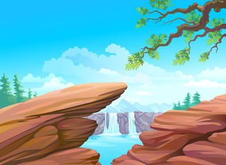 NEW - MAGNIFICENT ROCKS AND WATERFALL