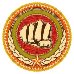 Illustrated retro emblem with fist.
