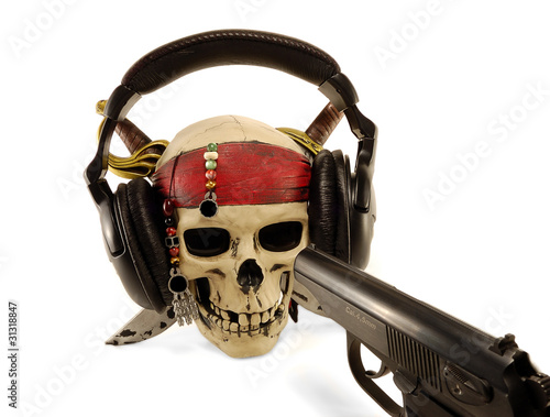 skull in ear-phones with the weapon