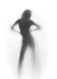 Sexy dancer woman silhouette, stand front