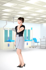 young girl  business hospital room