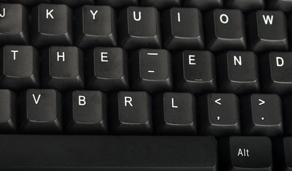 The word the end written on a keyboard