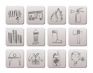 fire-brigade and fireman equipment icon - vector icon set