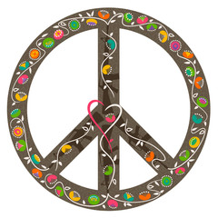 Peace symbol with heart and flowers growing out of guns