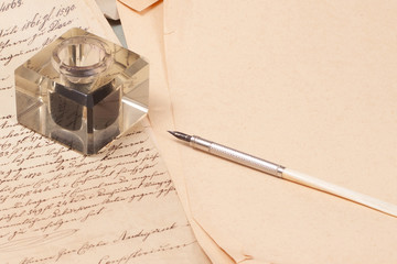 Vintage old papers, old ink pen, handwrite letters