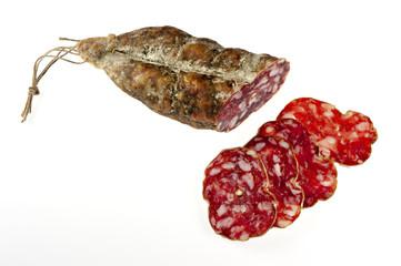 Italienische Salami I, isoliert, Makro