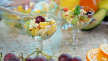 preparing fruit salad