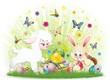 Pasqua Agnello Pulcino e Coniglio-Ester Rabbit Chick and Sheep