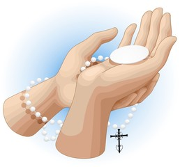 Mani Preghiera Ostia e Rosario-Praying Hands Rosary and Host