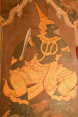Masterpiece of traditional Thai style painting art on temple wal