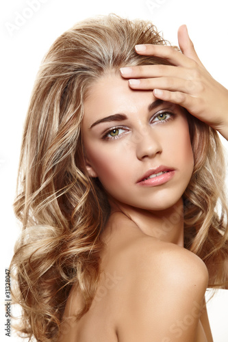 beautiful blond woman with curly hair