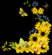 yellow butterflies and flower corner on black
