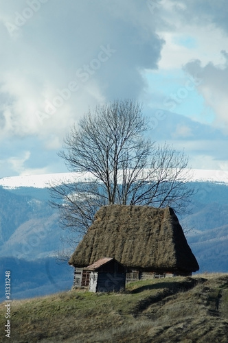 Landscape with a wooden house in Transylvania, Romania
