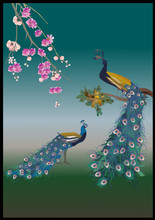 flower branch and two peacocks illustration