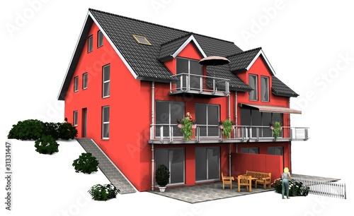 3d rotes Doppelhaus