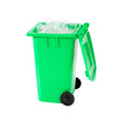 full green recycling bin with plastic