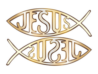 two christian fish symbol - illustration