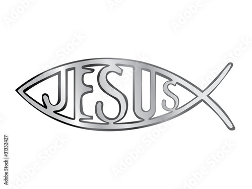 silver christian fish symbol - illustration