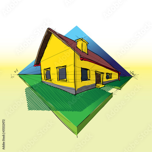 family house in perspective 3d - illustration