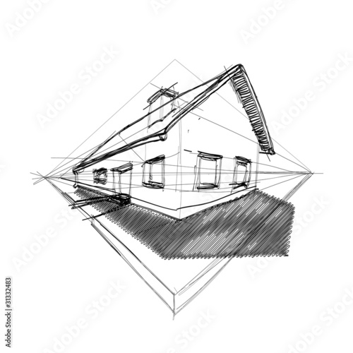 family house in perspective 3d - outline illustration