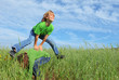 happy healthy kids playing leapfrog