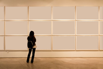 blank frame in art gallery