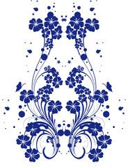floral double bleu