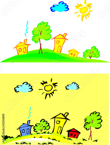 Stilyzeh vector happy houses standing on the graund