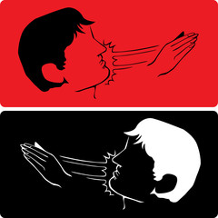 Woman hand slapping man on the face vector illustration