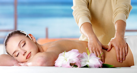 Spa massage for the beautiful body of woman