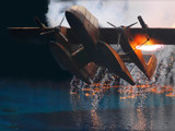 flaming seaplane crash landing