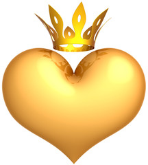 Heart of King golden with a crown abstract. Royal Love concept
