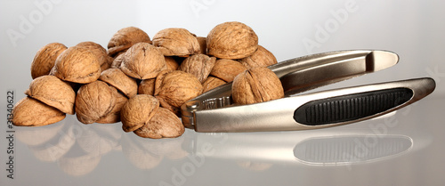 Walnut's nutshell and metal nutcracker