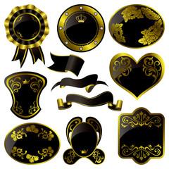 Gold and black frames set