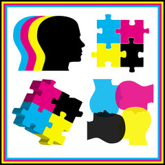 CMYK jigsaw puzzle and head concept set