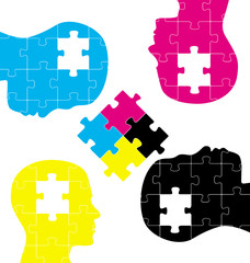 CMYK jigsaw puzzle head set concept