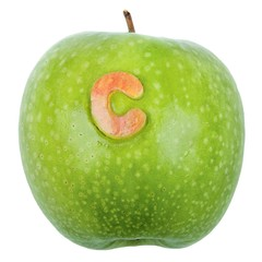 Fresh green apple with C on it