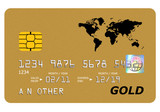Bank gold card mock up isolated on white. poster