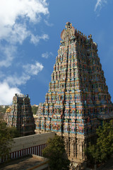 Meenakshi hindu temple in Madurai, Tamil Nadu, South India