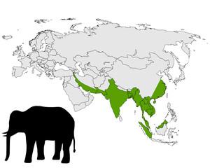 Verbreitung asiatischer Elefant
