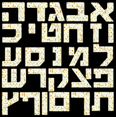 Hebrew Alphabet letters with a Matzo flatbread for Passover Sede