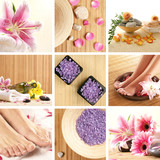 Un colaj spa de flori frumoase, sare sănătoase şi picioarele de sex feminin