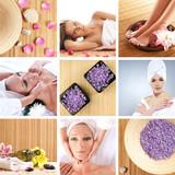 Un colaj spa de femei frumoase, sare sănătos şi petalele